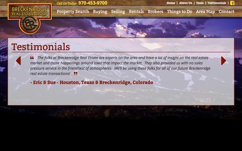 Screenshot of Testimonials Page breckenridgerealestategroup.com - Testimonials - Breckenridge Real Estate - captured Jan. 7, 2016
