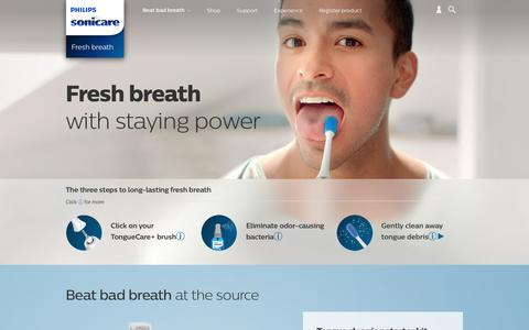 Screenshot of philips.com - Beat bad breath | Philips Sonicare - captured Sept. 18, 2017