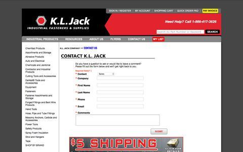 Screenshot of Contact Page Locations Page kljack.com - KL Jack - Industrial Fasteners and Supplies - 1-866-417-3626   SALES@KLJACK.COM - Now Stocking DeWalt Power Tools! - captured Sept. 25, 2018