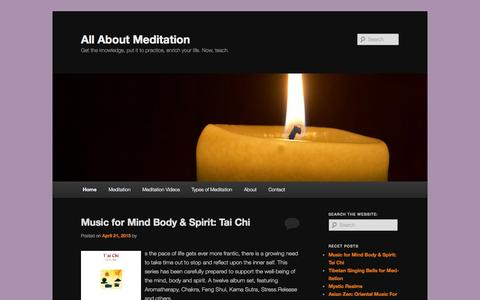 Screenshot of Home Page allaboutmeditation.info - All About Meditation - captured Aug. 29, 2015