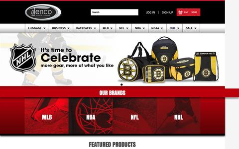 Screenshot of Home Page sportsluggage.com - Denco Sports Luggage - Officially Licensed Bags - captured Feb. 9, 2016