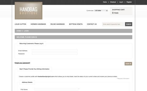 Screenshot of Login Page thesteelbandproject.com - Login : Designer Replica Handbags, Fashion Handbags and Purses - captured Nov. 4, 2014