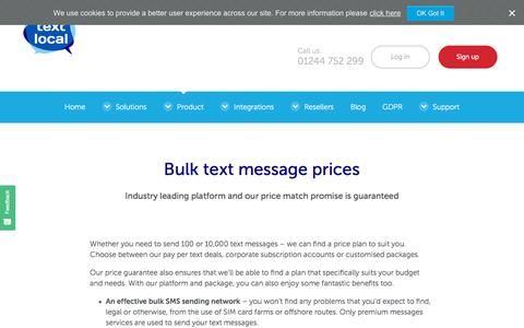 Screenshot of Pricing Page textlocal.com - Text SMS Prices - Industry Leading Platform & Price Match Guarantee - captured Aug. 15, 2018