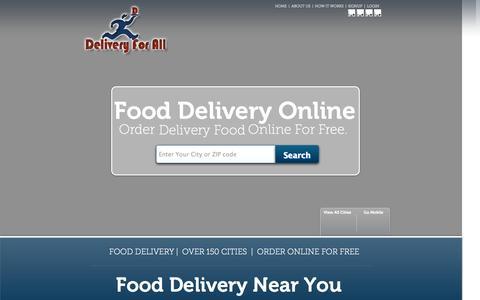 Screenshot of Home Page deliveryforall.com - Delivery For All | Food Delivery | Restaurant Delivery | Takeout - captured Sept. 24, 2014