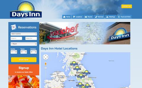 Screenshot of Locations Page daysinnrc.co.uk - Days Inn Locations, Motorway Service Hotels - Daysinnrc.co.uk - captured Oct. 5, 2014