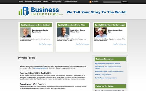 Screenshot of Privacy Page businessinterviews.com - Privacy Policy - Business Interviews - captured Sept. 18, 2014