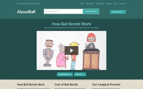 Screenshot of Home Page aboutbail.com - AboutBail - Find Bail Bonds, Bail Agents - captured Sept. 19, 2014