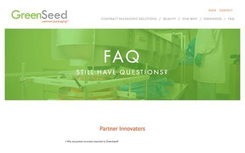 Screenshot of FAQ Page greenseedcp.com - FAQ - GreenSeed Contract Packaging - captured Sept. 30, 2018