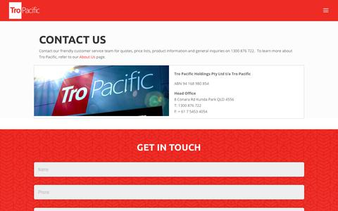 Screenshot of Contact Page tro-pacific.com - Contact Us for Quotes, Product Information and Support | Tro Pacific - captured Nov. 13, 2017