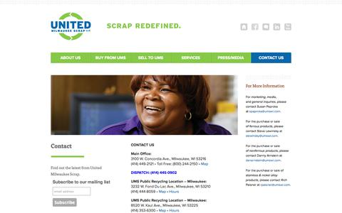 Screenshot of Contact Page Locations Page umswi.com - Contact | United Milwaukee Scrap: Scrap Redefined - captured Oct. 26, 2014