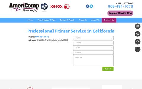 Screenshot of Contact Page americompgroup.com - Professional Printer Service | Alta Loma, CA | Americomp Group - captured Oct. 8, 2017
