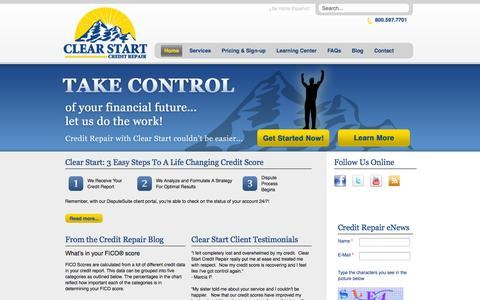Screenshot of Home Page clearstartcreditrepair.com - Home - Clear Start Credit Repair - captured Oct. 4, 2014