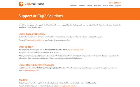 Screenshot of Support Page cap2.co.uk - Support | Cap2 Solutions - captured Oct. 19, 2016