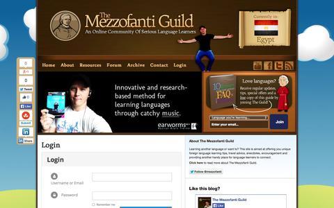 Screenshot of Login Page mezzoguild.com - Login | The Mezzofanti Guild - captured Nov. 1, 2014
