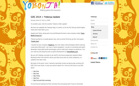 Screenshot of Blog yobonja.com - Yobonja! - Blog - captured Oct. 27, 2014
