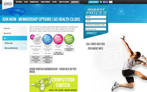 Screenshot of Signup Page gohealthclubs.com.au - Join Now - Membership Options | Go Health Clubs - captured Sept. 26, 2014