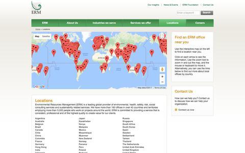 Screenshot of Locations Page erm.com - Locations - Environmental Resources Management (ERM) - captured Nov. 9, 2017