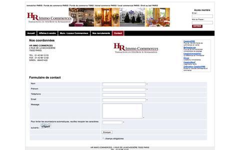 Screenshot of Contact Page hrimmocommerces.com - HR IMMO COMMERCES - Hôtels, Restaurants, Sandwicherie à vendre. Paris - Ile de France - Contact - captured Sept. 26, 2014