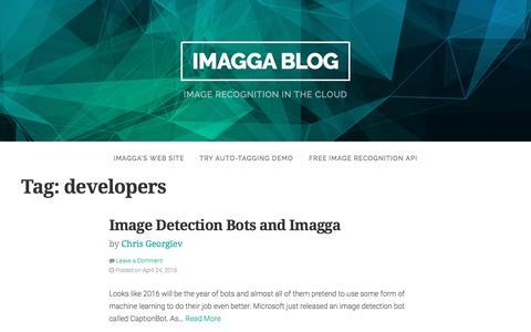 Screenshot of Developers Page imagga.com - developers Archives - Imagga Blog - captured April 19, 2017