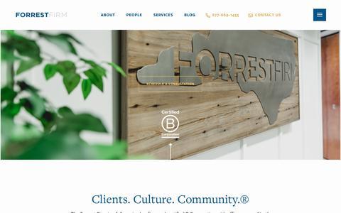 Screenshot of Home Page forrestfirm.com - Home - Forrest Firm - captured July 11, 2019