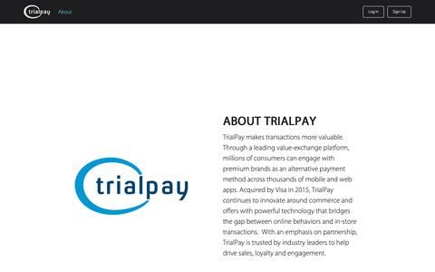 Screenshot of Home Page trialpay.com - About - TrialPay - captured Feb. 13, 2019