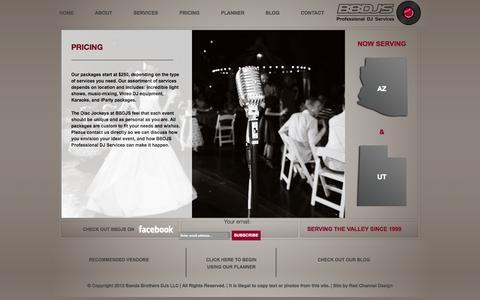 Screenshot of Pricing Page bbdjs.com - PRICING | BBDJS - Banda Brother's DJ's Professional DJ Services - Mesa, Phoenix, Gilbert, Chandler, Queen Creek DJ Services - captured Oct. 5, 2014