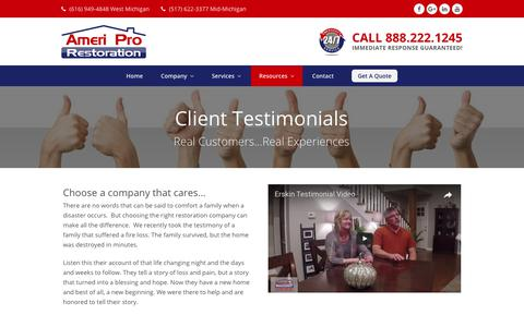 Screenshot of Testimonials Page ameri-pro.com - Client Testimonials | Ameri Pro Restoration - captured July 6, 2017