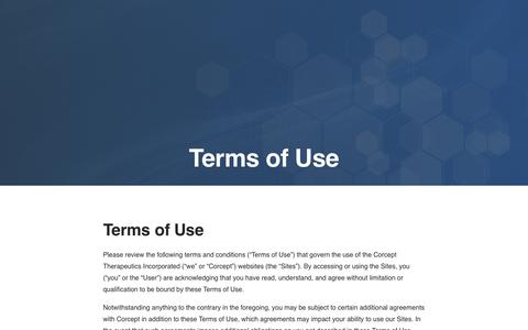 Screenshot of Terms Page corcept.com - Terms of Use | Corcept Therapeutics - captured Nov. 3, 2018