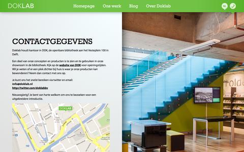 Screenshot of Contact Page doklab.nl - DOKLAB Contactgevens - captured Sept. 30, 2014