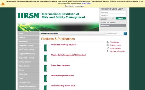 Screenshot of Products Page iirsm.org - IIRSM | Products & Publications - captured Oct. 6, 2014