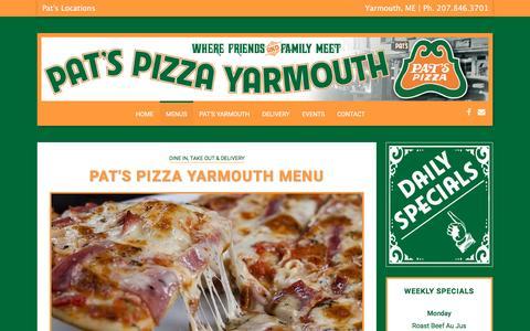 Screenshot of Menu Page patsyarmouth.com - Pat's Pizza Yarmouth | Menu - captured May 21, 2016