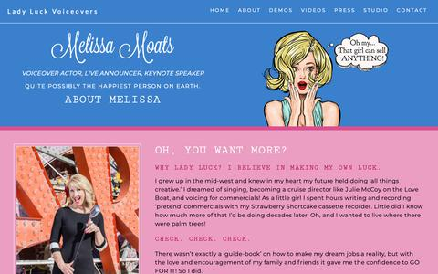 Screenshot of About Page ladyluckvoiceovers.com - About Melissa Moats - captured Oct. 22, 2018