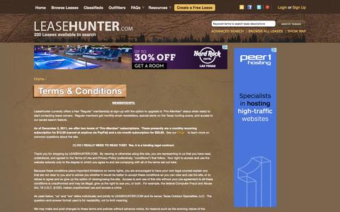Screenshot of Terms Page leasehunter.com - Terms & Conditions | Hunting leases in Texas, the US and throughout the world. - captured Oct. 2, 2014