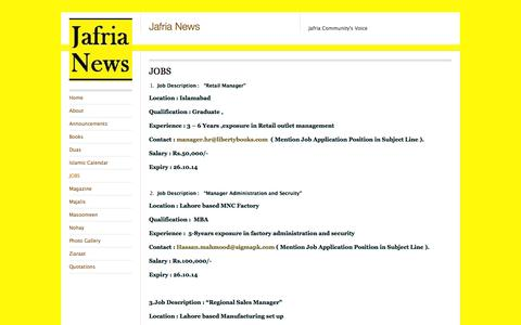 Screenshot of Jobs Page jafrianews.com - JOBS | Jafria News - captured Oct. 31, 2014
