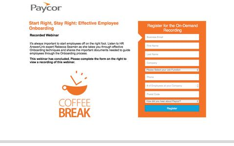 Screenshot of Landing Page paycor.com - Start Right, Stay Right: Effective Employee Onboarding - captured Aug. 19, 2016