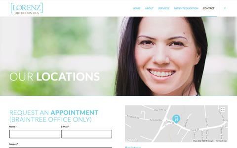 Screenshot of Contact Page Locations Page lorenzortho.com - Lorenz Orthodontics |   Contact - captured July 9, 2018