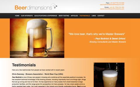 Screenshot of Testimonials Page beerdimensions.com - Testimonials - Beer Dimensions - captured June 1, 2017