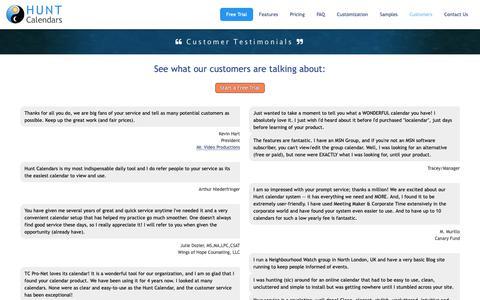 Screenshot of Testimonials Page huntcal.com - Hunt Calendars - Customer Testimonials - captured Oct. 19, 2018