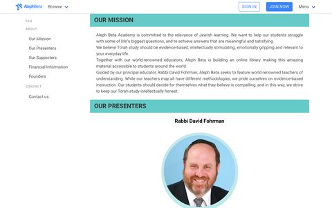 Screenshot of Contact Page FAQ Page alephbeta.org - Contact Aleph Beta   Meet Our Educators - captured Sept. 23, 2018
