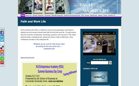 Screenshot of Home Page faithandworklife.org - Faith and Work Life - captured Aug. 3, 2015