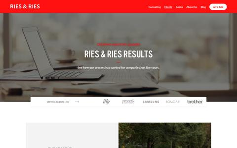 Screenshot of Case Studies Page ries.com - Ries & Ries: Positioning Pioneers & Marketing Consultants | Clients - captured Oct. 19, 2018
