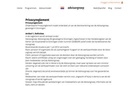 Screenshot of Privacy Page advisorgroep.nl - Privacyreglement - Advisorgroep - captured Nov. 6, 2018