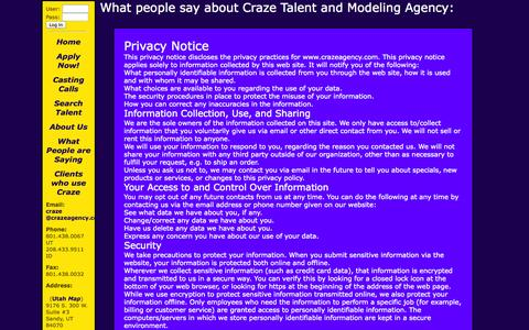 Screenshot of Privacy Page crazeagency.com - Craze Agency's Privacy Policy - captured Sept. 30, 2014