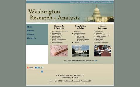 Screenshot of Services Page washra.com - Washington Research & Analysis - WASHRA Services - captured Oct. 27, 2014