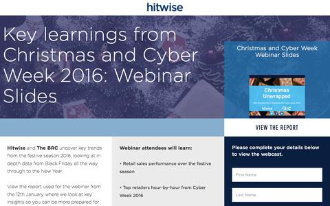 Screenshot of Landing Page connexity.com - Hitwise | Christmas Planning Webcast - captured April 27, 2018
