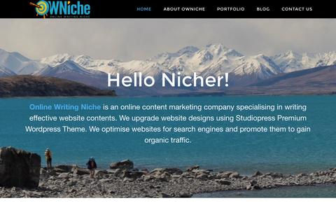 Screenshot of Home Page onlinewritingniche.com - Effective Website Contents - Online Writing Niche - New Zealand - captured Aug. 16, 2015