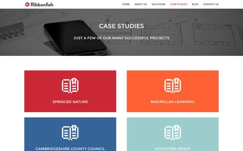 Screenshot of Case Studies Page ribbonfish.co.uk - Case Studies | Ribbonfish Enterprise CRM Solutions - captured Feb. 28, 2016
