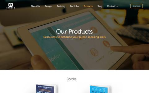 Screenshot of Products Page ethos3.com - Our Products | Ethos3 - A Presentation Design Agency - captured March 8, 2017