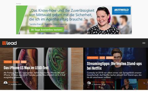 Screenshot of Home Page lead-digital.de - LEAD - Digitales Leben | LEAD - captured Sept. 21, 2018