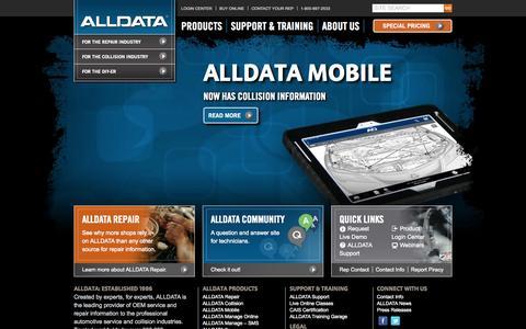 Screenshot of Home Page alldata.com - ALLDATA - OEM Auto Repair Information for Professionals - captured Sept. 22, 2014